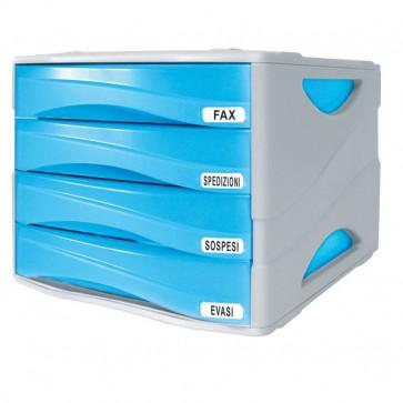 Cassettiera Smile Arda blu traslucido 4 cassetti TR15P4PBL