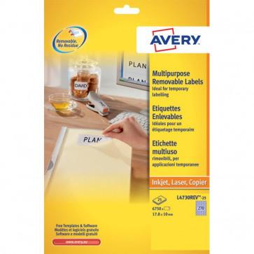 Etichette rimovibili Avery 17,8x10 mm 270 L4730REV-25 (conf.25)