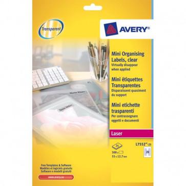 Mini etichette Avery Laser trasparente 55x12,7 mm 20 et/ff L7552-25 (conf.25)