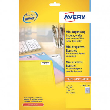 Mini etichette Avery Laser bianco- 38,1x21,2mm 65 et/ff L7651-100 (conf.100)