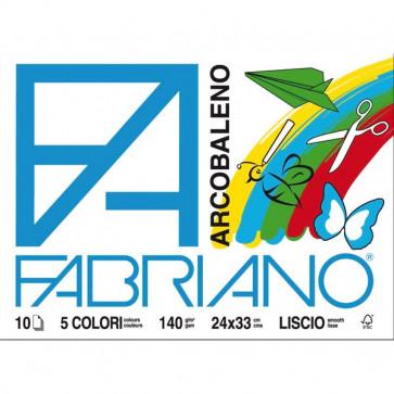 Fabriano arcobaleno 24x33 cm assortiti 140 g/mq 10 fogli 44312433