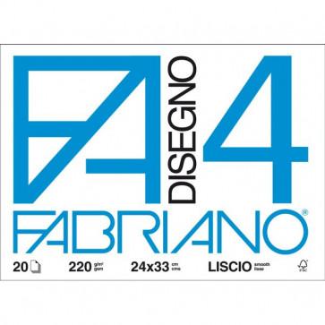 Fogli F4 Fabriano disegno 4 Liscio 33x48 cm 220 g/mq 20 fogli 05200797