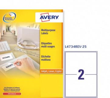 Etichette rimovibili Avery 199,6x143,5 mm arrotondati 2 L4734REV-25 (conf.25)