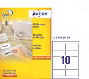 Etichette rimovibili Avery 99,1x 57 mm arrotondati 10 L4744REV-25 (conf.25)