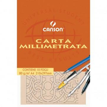 Carta opaca millimetrata Canson A4 80 g/mq 10 fogli 2005812