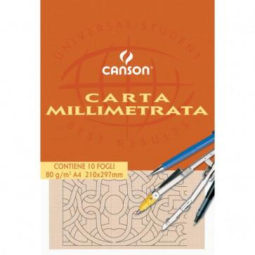 Carta opaca millimetrata Canson 23x33 cm 80 g/mq 10 fogli 200005813