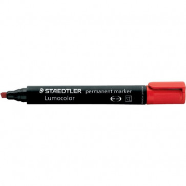 Marcatore Lumocolor Permanent Staedtler rosso a scalpello 2-5 mm 350-2