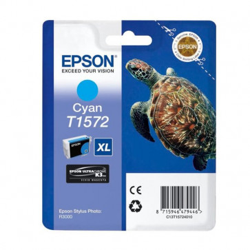 Orig. Epson C13T15724010 Cart. inkjet alta cap. ink pig. blister RS TARTARUGA-TAGLIA XL T1572 ciano
