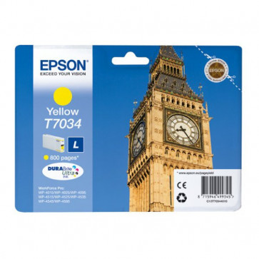 Originale Epson C13T70344010 Cart. inkjet standard ink pigment. blister RS DURABRITE ULTRA L T7034 giallo