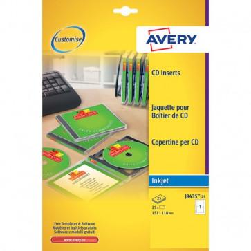 Copertine per custodie CD Avery per stampanti Inkjet bianco 1 et/ff J8435-25 (conf.25)