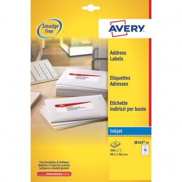 Etichette bianche QuickDry per indirizzi Avery 99,1x38,1 mm 14 et/ff J8163-25 (conf.25)