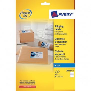 Etichette bianche QuickDry per indirizzi Avery 99,1x67,7 mm 8 et/ff J8165-25 (conf.25)