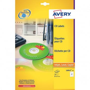 Etichette Classiche CD Avery per stampanti Laser ed Inkjet bianco 2 et/ff L6043-25 (conf.25)