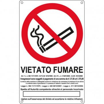 Cartelli segnaletici divieto - antincendio Cartelli Segnalatori - Divieto - vietato fumare con legge - 270x430 mm - E630105X