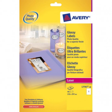 Etichette glossy per stampanti laser a colori Avery 209x295 mm 1 et/ff L7767-40 (conf.40)