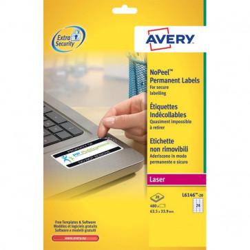 Etichette in poliestere Non Rimovibili per Laser Avery 63,5x33,9 mm 24 L6146-20 (conf.20)