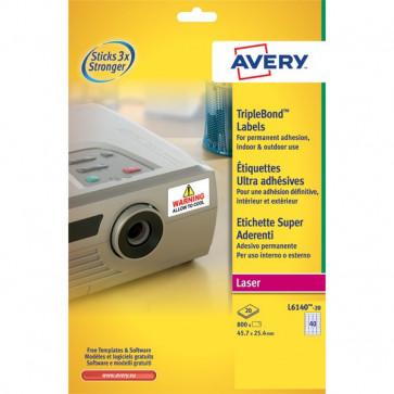 Etichette poliestere Super Aderenti per stampa Laser Avery 45,7x25,4 mm 40 L6140-20 (conf.20)