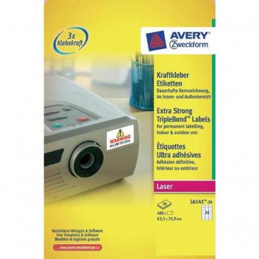 Etichette poliestere Super Aderenti per stampa Laser Avery 63,5x33,9 mm 24 L6141-20 (conf.20)