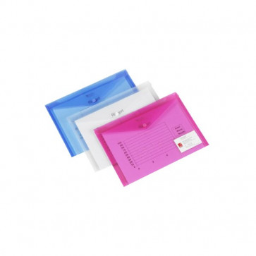 Busta con bottone Ice Rexel con portabiglietto visita A4 trasp. 2101663 (conf.5)