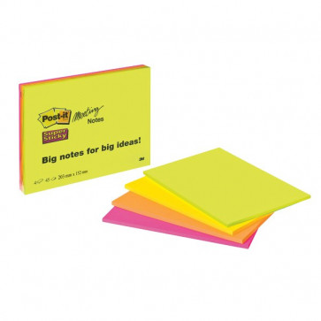 Post-it® SuperSticky Meeting Note Large 200x149 mm verde,giallo,arancio,rosa 6845-SSP (conf.4)