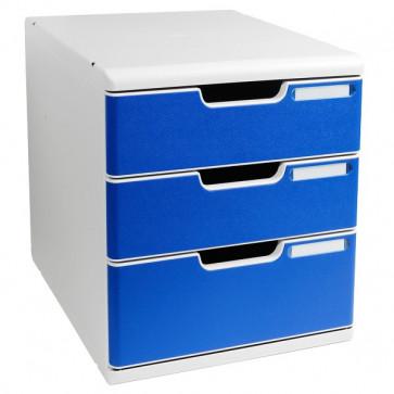 Cassettiera Modulo A4 Exacompta grigio chiaro/blu 2+1 cassetti 325003D