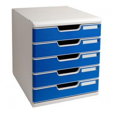 Cassettiera Modulo A4 Exacompta grigio chiaro/blu 5 cassetti 301003D