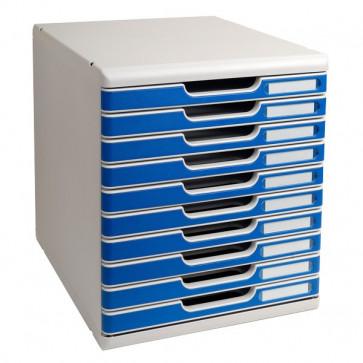 Cassettiera Modulo A4 Exacompta grigio chiaro/blu 10 cassetti 302003D