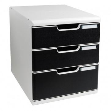 Cassettiera MODULO A4 Exacompta grigio/nero 2+1 cassetti 325014D