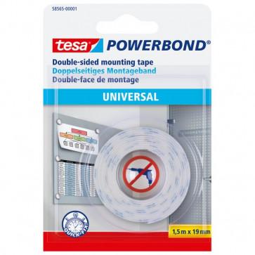 Biadesivo Universal Powerbond Tesa blister 1,5 mt x19 mm bianco 58565-00001-00