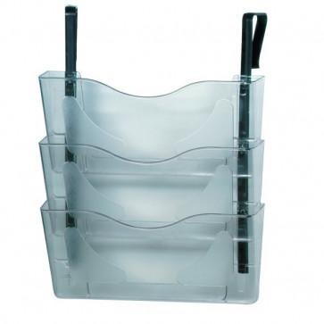 Vaschetta portadocumenti da parete 3 livelli Deflecto A4 orizzontale 38x10,2x25 cm CP077YTCRY