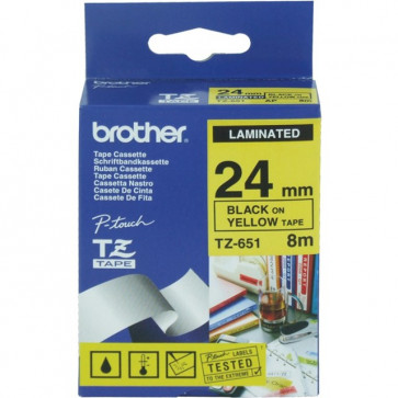 Nastri TZ Brother 24 mm nero/giallo TZ-651