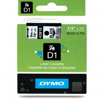 Nastri Dymo D1 6 mm x 7 m nero/trasparente S0720770 (ex 43610)