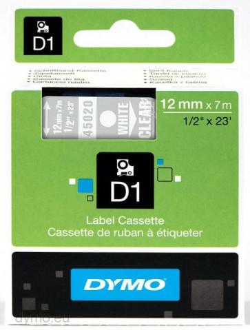 Nastri Dymo D1 12 mm x 7 m bianco/trasparente S0720600 (ex 45020)