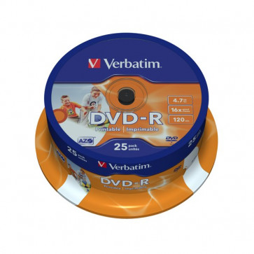 DVD Verbatim DVD-R 4,7 Gb 16x Printable Spindle 43538 (conf.25)