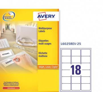 Etichette rimovibili Avery 63,5 x 46,6 mm arrotondati 18 L6025REV-25 (conf.25)