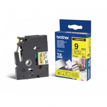 Nastri TZ Brother 9 mm nero/giallo TZ-621
