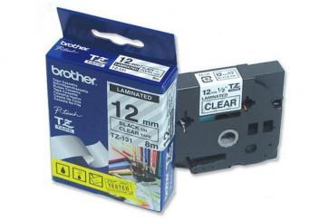 Nastri TZe Brother 12 mm nero/trasparente TZe-131