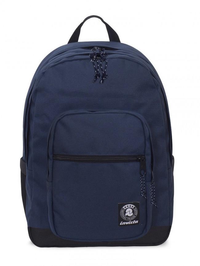 2a5db349e5 ZAINO INVICTA jelek plain backpack BLU NERO tre cerniere tasche laterali  SEVEN.cm 32x43x25