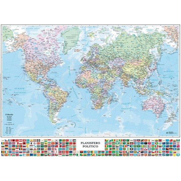 Mappamondo Cartina Geografica.Carta Geografica Murale Planisfero C Bandiere 132x97cm Belletti In Offerta