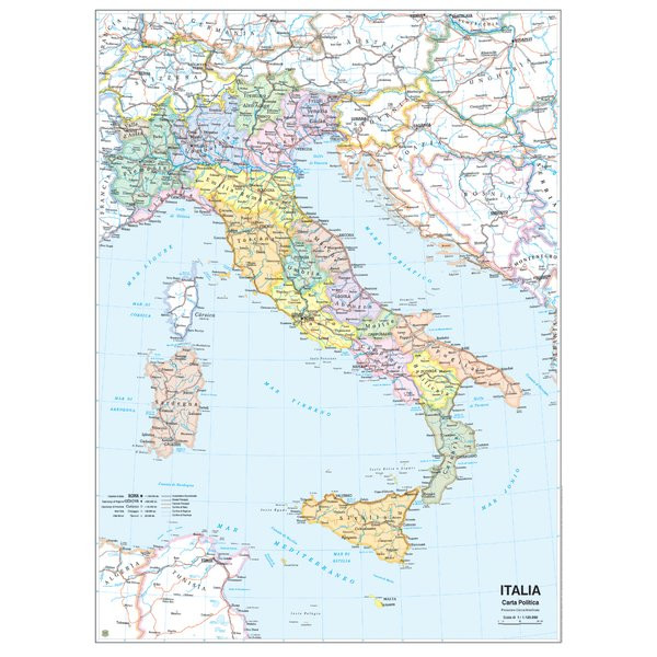 Cartina Politica Italia Zoom.Carta Geografica Scolastica Murale Italia Belletti In Offerta