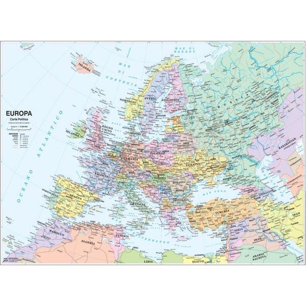 Carta Geografica Murale Fisica E Politica Europa Belletti 132x99 Cm