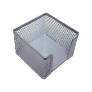 Portamemo in metallo Q-Connect 9,5x8x9,5 cm argento