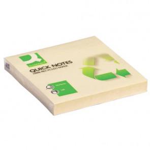 Foglietti riposizionabili Q-Connect 100% materiale riciclato 65 g/m? giallo 76x76 76x76 mm  12 blocc. da 100 ff - KF05609