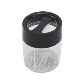 Dispenser portaclip Q-Connect nero/trasparente rotondo