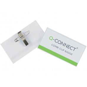 Portabadge Q-Connect plastica con clip e spilla 90x54 mm