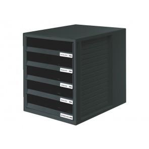 Cassettiera SCHRANK-SET HAN in polistirolo con 5 cassetti aperti nero