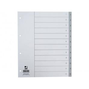 Divisore numerico Q-Connect grigio XL 24,5x29,7 cm ppl 1-12 KF02294