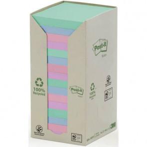 Foglietti Post-it? Notes carta riciclata 76x76mm assort pastello Torre da 16 blocchetti da 100 ff - 654-1RPT