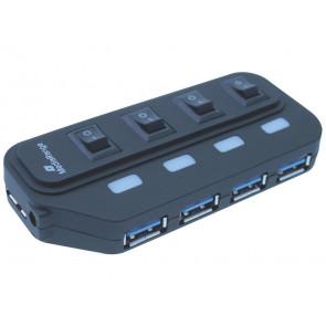 Hub Media Range USB 3.0 con quattro porte con interruttori separati e alimentatore - MRCS505