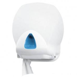 Distributore mini di carta igienica jumbo QTS in ABS con capacit? massim ? 20 cm bianco con vetrino blu IN-TO2/WS